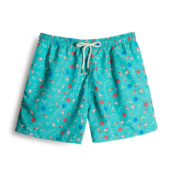 Space Ships Green Swim short