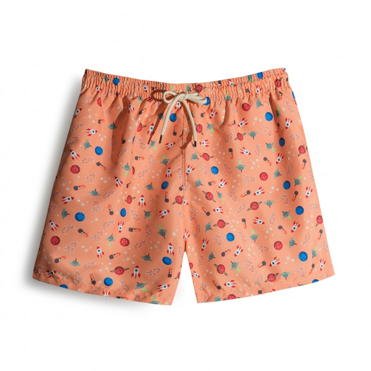 Atomic Tangerine Space Ships Swim short