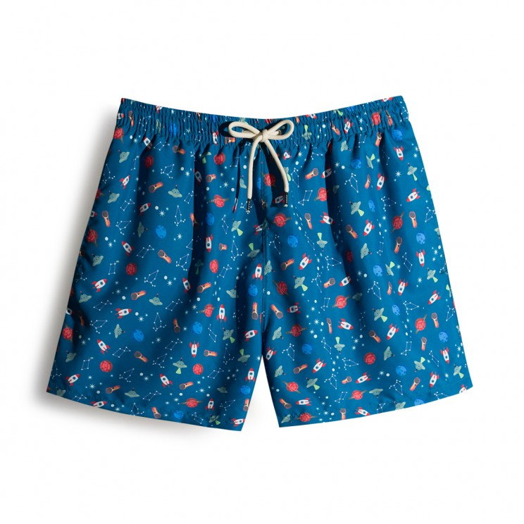 Deep Blue Space Ships Swim short