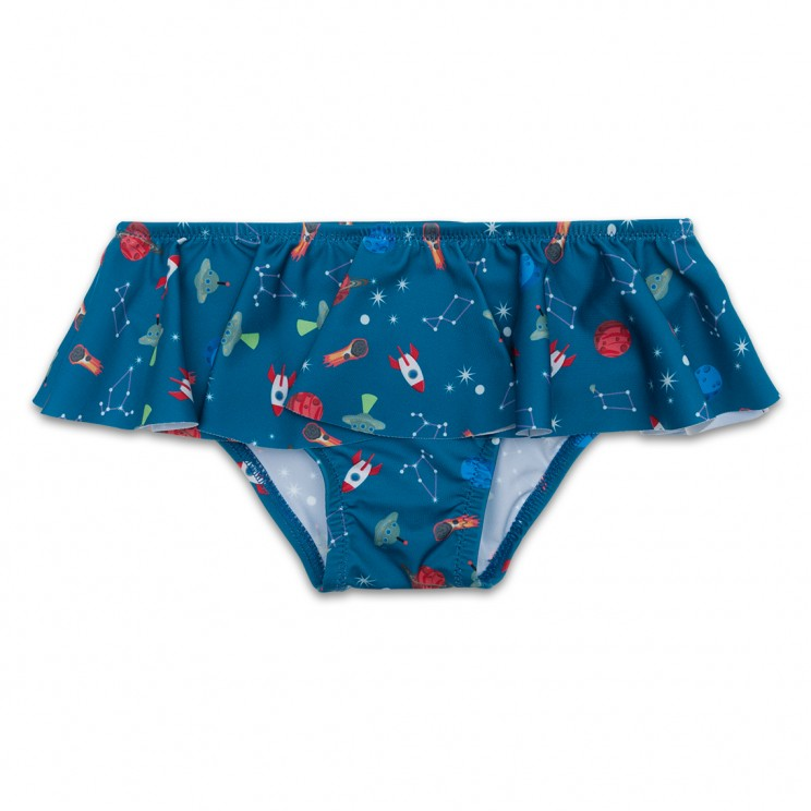 Blue Spaceships Girl Swimsuit 1 Year