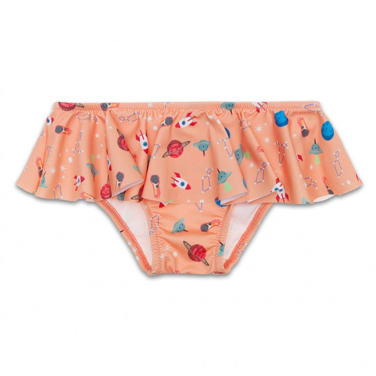 Orange Spaceships Girl Swimsuit 1 Year