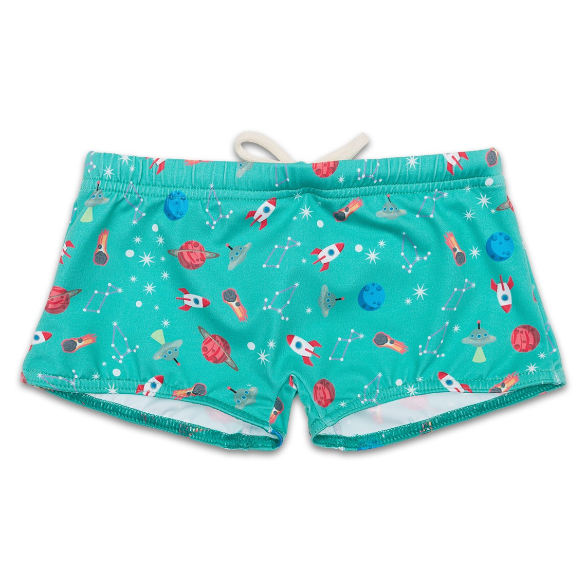 Boy Swimsuit Green Space Ships 1 year
