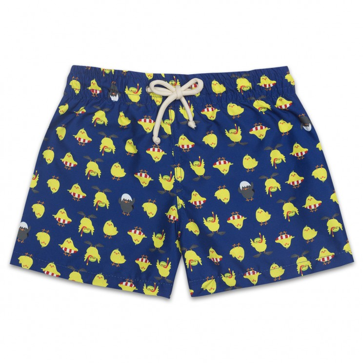 Boy Swim short Dark Blue Chickens 2 to 8 years