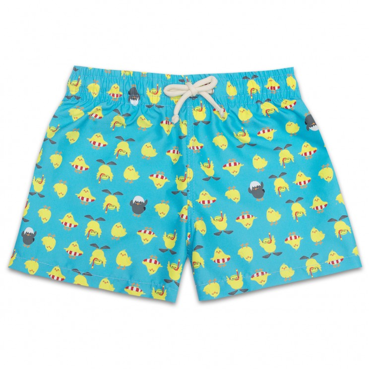 Boy Swim short Turquoise Chickens 2 to 8 years