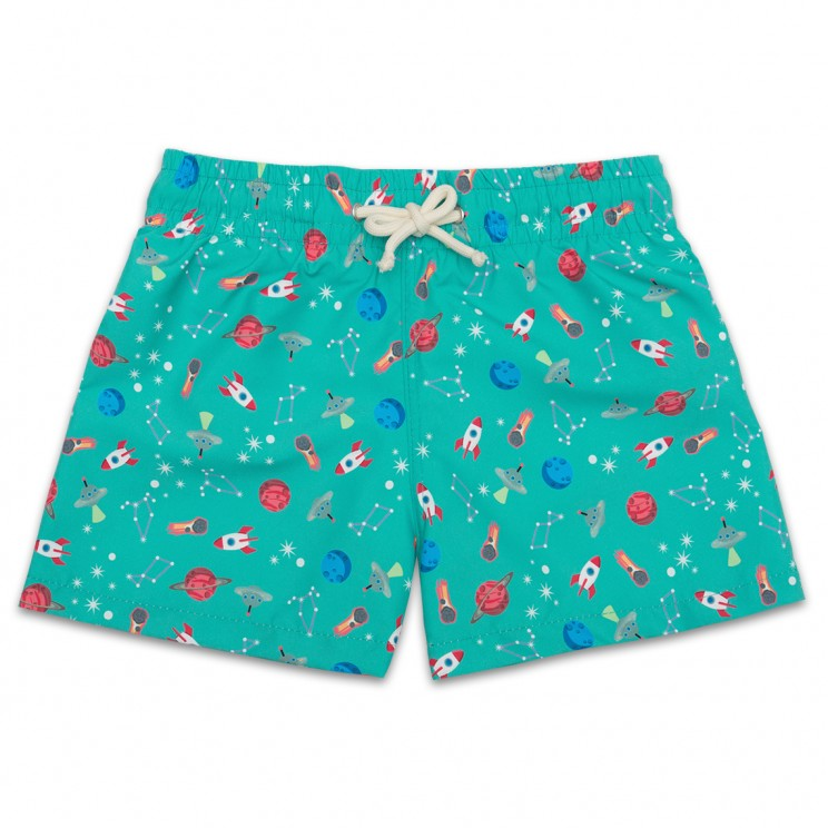 Boy Swim short Green Space Ships 2 to 8 years