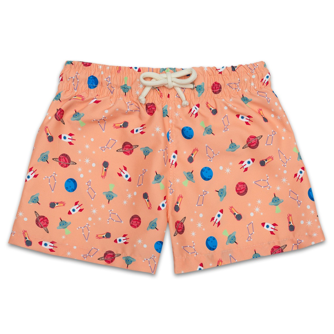 d949fb6425 Boy Swim short Atomic Tangerine Space Ships 2 to 8 years - Ocoly