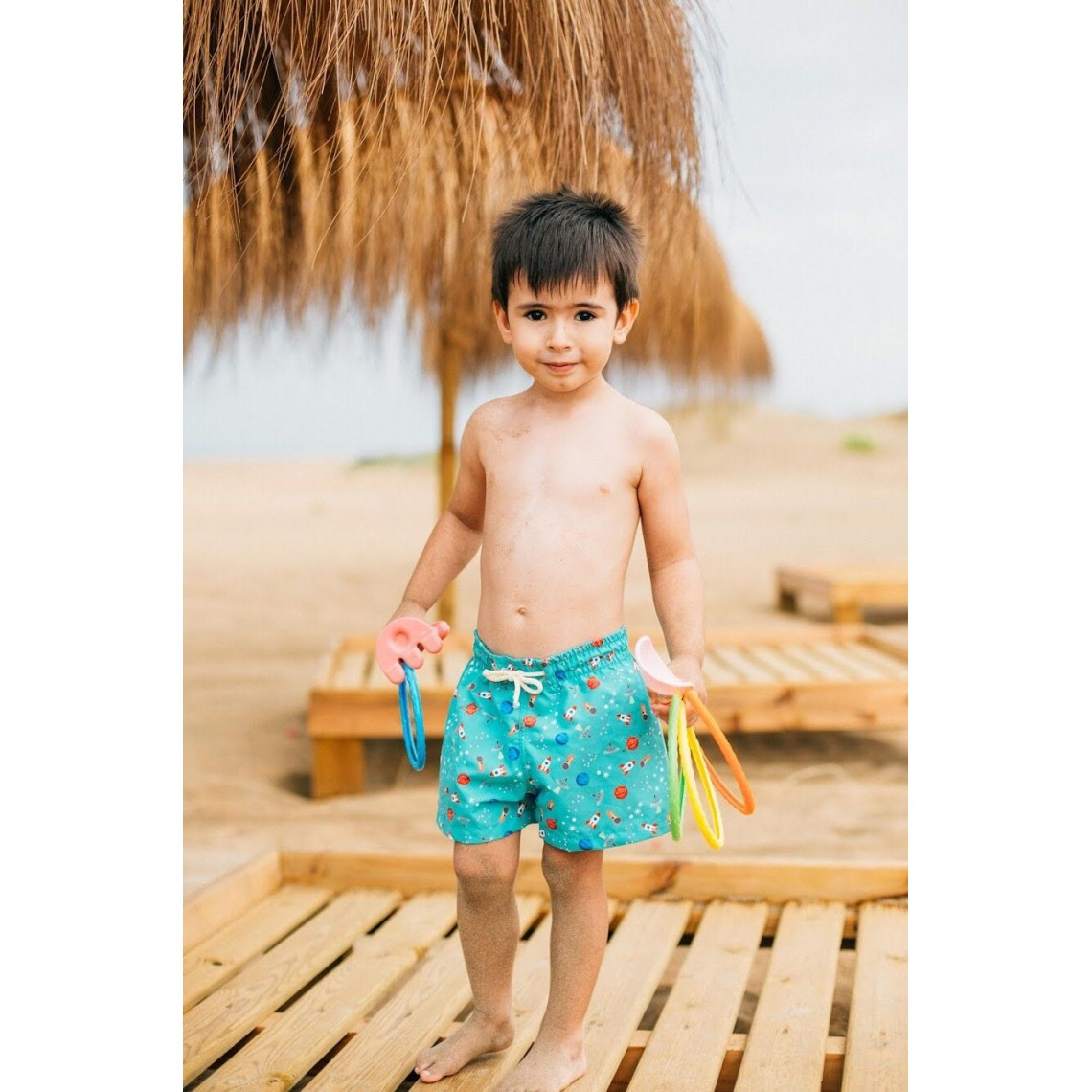 cb530621c4 Boy Swim short Green Space Ships 2 to 8 years zoom. Siguiente