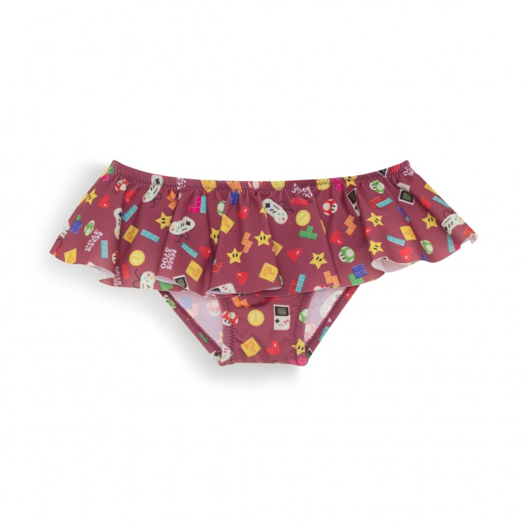 Burgundy video games Girl Swimsuit 1 Year