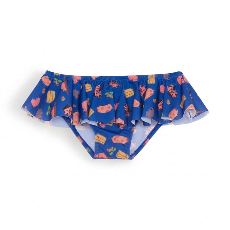 Dark Blue Pigs Girl Swimsuit 1 Year