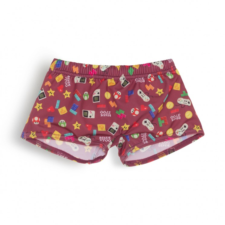Boy Swimsuit burgundy video games 1 year