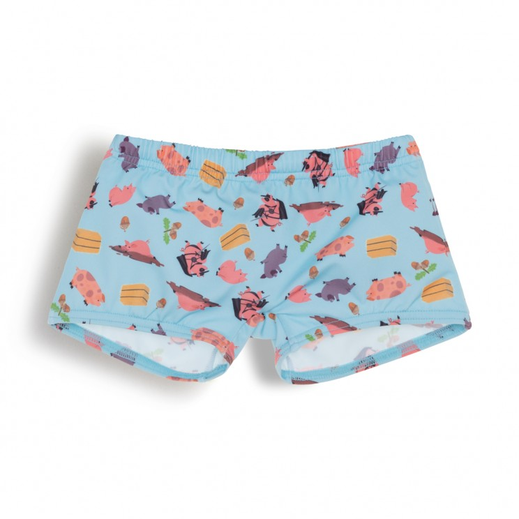 Boy Swimsuit light blue pigs 1 year
