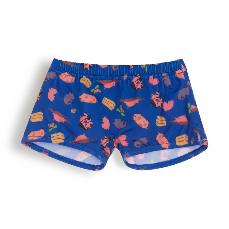 Boy Swim short dark blue pigs 1 year