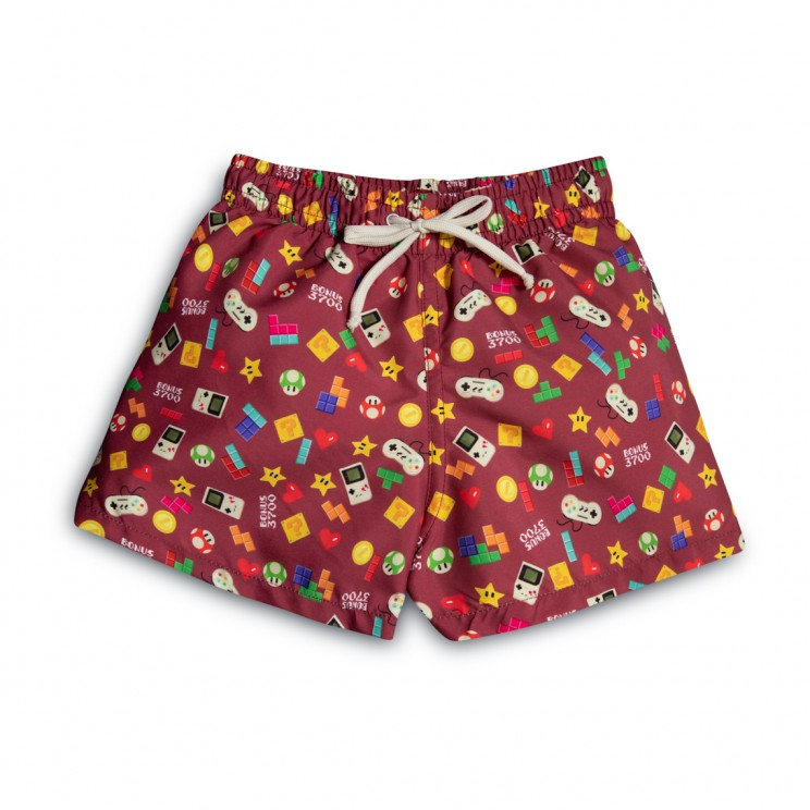 Boy Swim short Burgundy Video Games 2 to 12 years