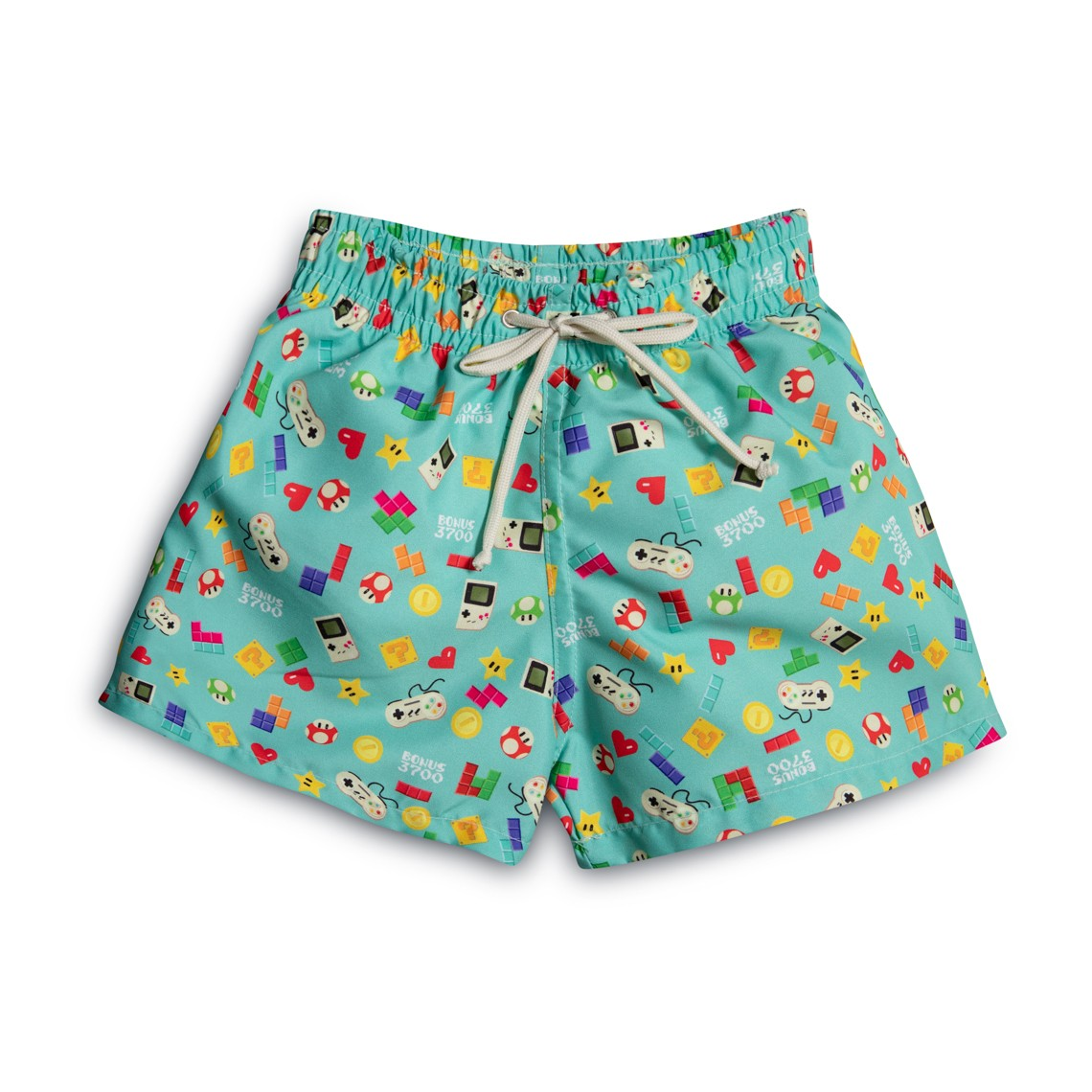 c7363eed6e Boy Swim short Light Green Video Games 2 to 12 years - Ocoly