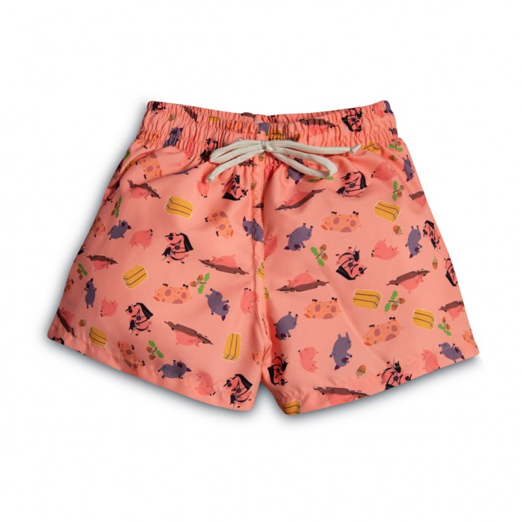 Boy Swim short pink pigs 2 to 12 years