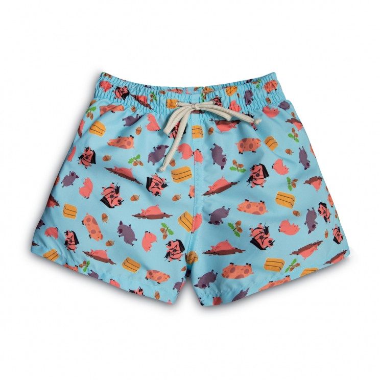 Boy Swim short blue pigs 2 to 12 years