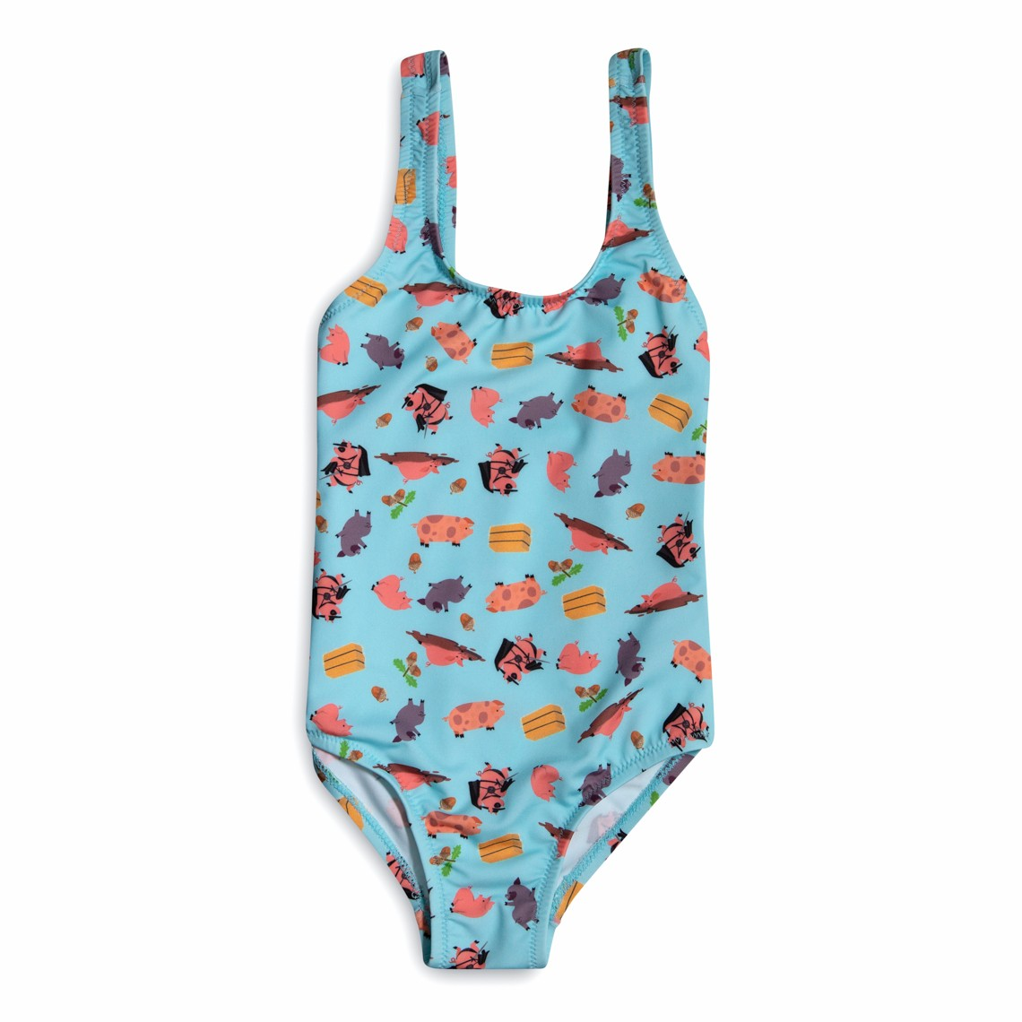 Girl Swimsuit light blue pigs 2 to 6 years
