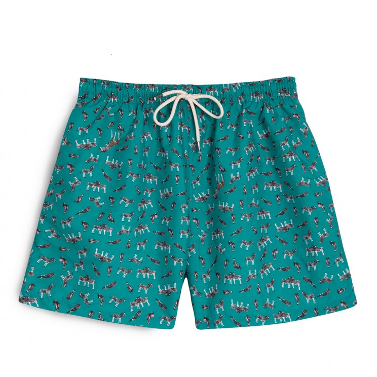 Swim short green zebras