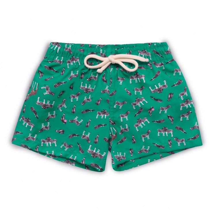 Boy Swim short green zebras
