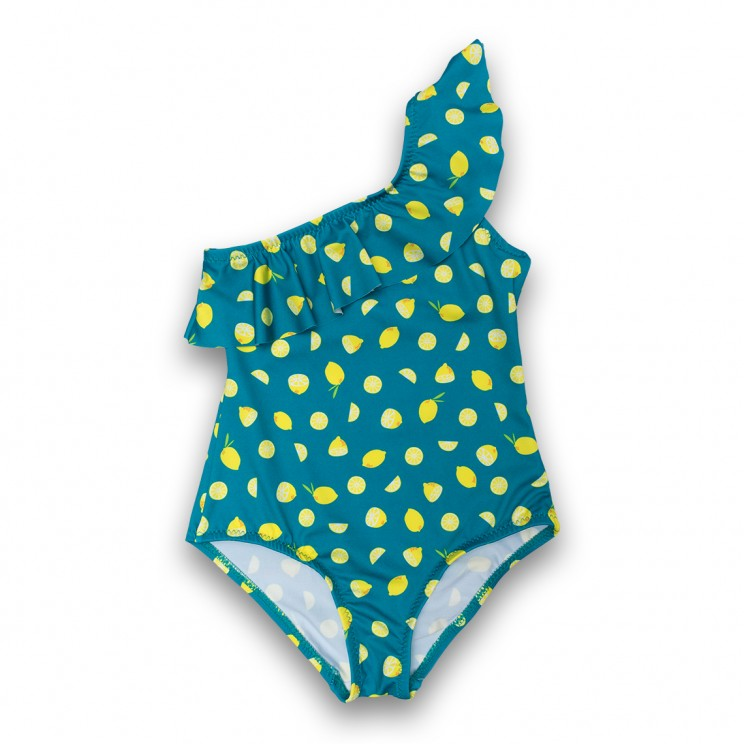 Girl Swimsuit Green Lemons 2 to 6 years