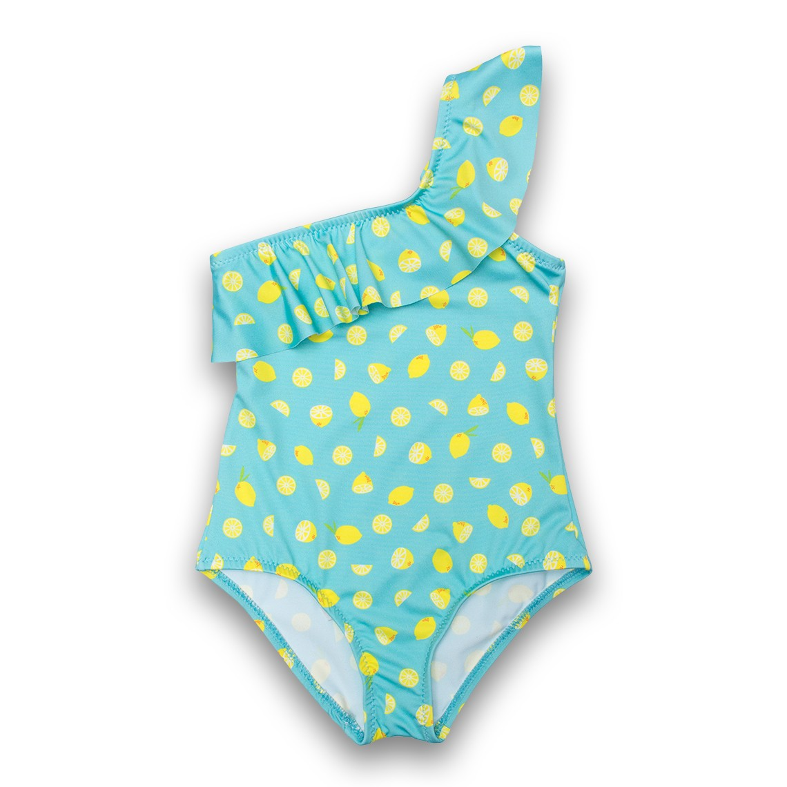 Girl Swimsuit Light Blue Lemons 2 to 6 years