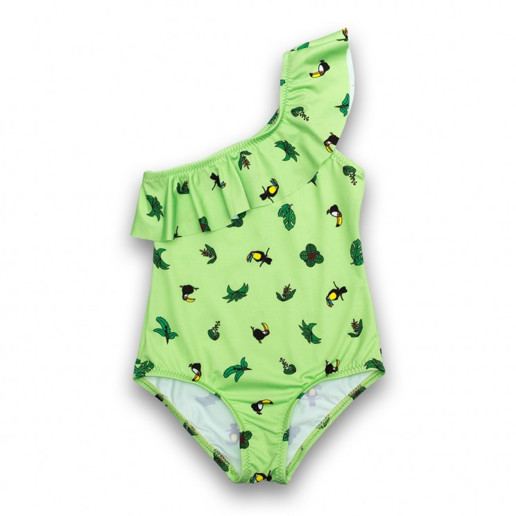 Girl Swimsuit Green Toucans 2 to 6 years