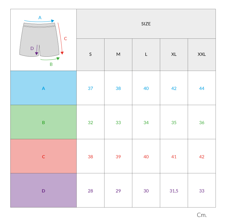 Size types of swimsuits for men